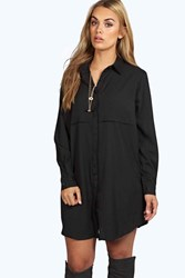 Boohoo Collette Woven Shirt Dress Black