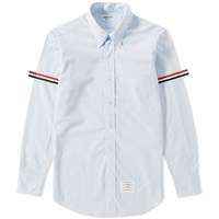 Thom Browne Grosgrain Arm Band Solid Poplin Shirt Blue