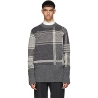Thom Browne Grey Plaid Oversized Crewneck Pullover