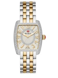 Michele Urban Mini 16 Diamond 18K Goldplated And Stainless Steel Bracelet Watch Silver Gold