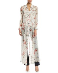 Haute Hippie Last Draw Floral Print Snap Front Gown White Pattern