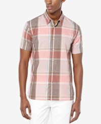 Perry Ellis Men's Chambray Plaid Short Sleeve Shirt Faded Rose