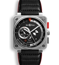 Bell And Ross Br0194 Limited Edition B Rocket Automatic Steel And Leather Watch Black