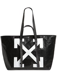 Off White Logo Printed Pvc Tote Bag Black