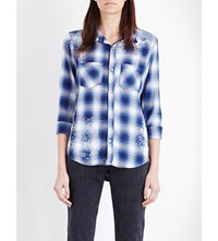 Nsf Kimberley Check Print Cotton Shirt Painted Blue Plaid