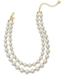 Kate Spade New York Gold Tone Two Row Imitation Pearl Collar Necklace
