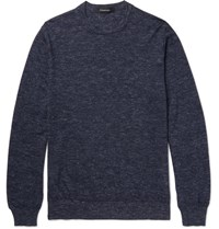 Ermenegildo Zegna Melange Cashmere Silk And Linen Blend Sweater Navy