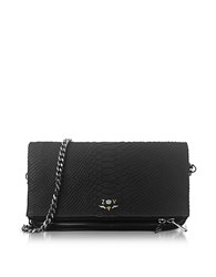 Zadig And Voltaire Black Embossed Leather Foldable Rock Savage Clutch