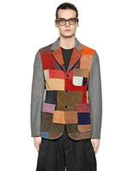 Comme Des Garcons Shirt Suede Patchwork And Wool Blazer