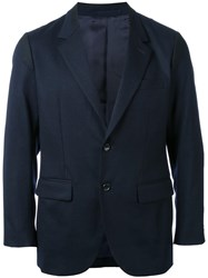 En Route Notched Lapel Blazer Blue