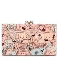 Charlotte Olympia 'Pandora' Map Print Clutch Nude And Neutrals
