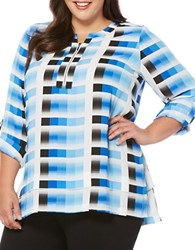 Rafaella Plus Three Quarter Sleeve Split V Neck Blouse Havana Blue