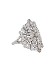 Fallon Monarch Embellished Rhodium Plated Ring Silver