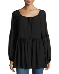 On The Road Long Sleeve Button Front Bell Top Black