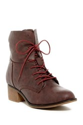 Anna Georgia Lace Up Bootie Red