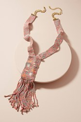 Anthropologie Guillermo Fringe Necklace Pink