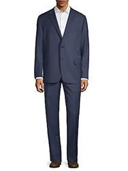 Hickey Freeman Plaid Wool Suit Navy