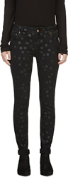 Avelon Black Bang Textured Polkadot Neon Jeans