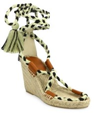 Soludos Leather And Textile Lace Up Espadrille Wedge Sandals Black Natural