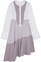 Carven Asymmetric Paneled Striped Cotton Poplin Midi Dress White