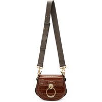 Chloe Brown Croc Small Tess Bag