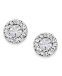 Charter Club Silver Tone Clear Circle Stud Earrings