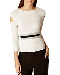 Karen Millen Sporty Cold Shoulder Sweater Ivory