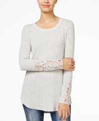 American Rag Ribbed Crocheted Sleeve Tunic Only At Macy's Frost Grey