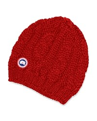 Canada Goose Cable Knit Beanie Hat Red