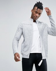Asos Zip Up Funnel Knitted Jacket With Burst Seams Grey