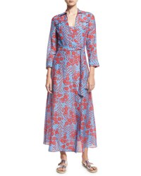 Diane Von Furstenberg Floral Print Voile Maxi Wrap Dress Blue Red Blue Pattern