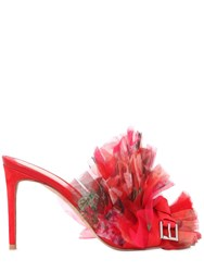 Alexander Mcqueen 85Mm Organza And Suede Mules Red