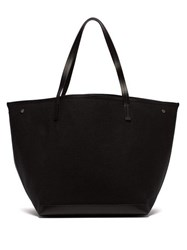 The Row Park Leather Trimmed Canvas Tote Black