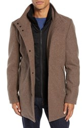 Vince Camuto Classic Wool Blend Car Coat With Inset Bib Heather Brown