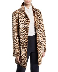 Nour Hammour Leopard Print Shearling And Leather Coat