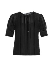 Oscar De La Renta Short Sleeved Lace Blouse