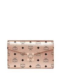 Mcm Patricia Visetos Two Fold Wallet On Chain Champagne Gold