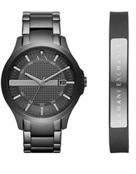 Armani Exchange Hampton Ion Plated Stainless Steel Y Link Bracelet Watch And Leather Cuff Bracelet Gift Set Black