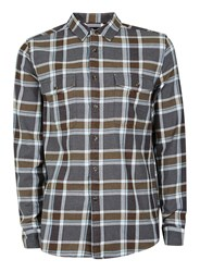 Topman Men's Long Sleeve Checked Shirt Stone