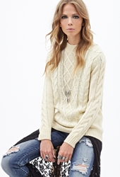 Forever 21 Cable Knit Crew Neck Sweater Cream