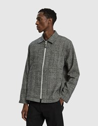 Tres Bien Zip Wool Check Blouson Light Grey