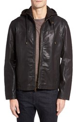 Cole Haan Men's Leather Moto Jacket With Knit Hood