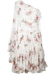 Giambattista Valli Floral One Shoulder Dress Women Silk 40 White