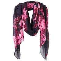 Joules Wensley Floral Print Scarf Navy Peony