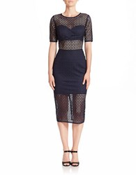 Nicole Bakti Short Sleeve Eyelet Sheath Dress Navy