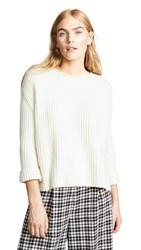 Ryan Roche Crew Neck Oversized Cashmere Sweater Ivory