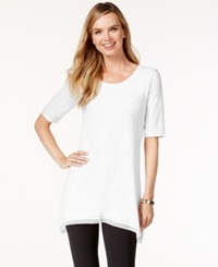 Style And Co. Lace Trim Tunic Top Only At Macy's Bright White