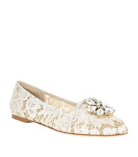 Dolce And Gabbana Vally Embellished Lace Slipper White