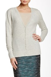 Lafayette 148 New York Long Sleeve V Neck Cashmere Cardigan Gray