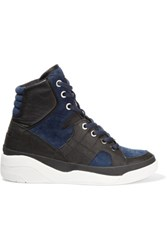 Dkny Chrystie Suede And Leather High Top Wedge Sneakers Navy